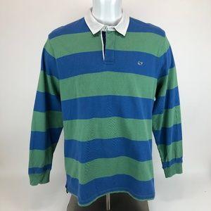 Vineyard Vines XL Rugby Shirt Green Blue Stripe